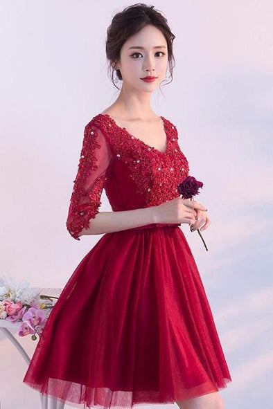 A-Line 1/2 Sleeves Tulle Lace Homecoming Dress | TeresaClare