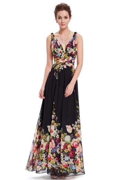 A-Line Ankle-Length Floral Printed Holiday Dress With Pleats | TeresaClare
