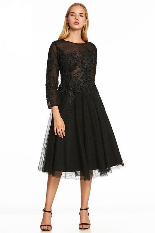 a388219c3062 Shop A-Line Black Scoop Long Sleeves Tea Length Cocktail Dress Now ...