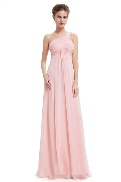A-Line Chiffon Ankle-Length One Shoulder Neckline With Ruffles | TeresaClare