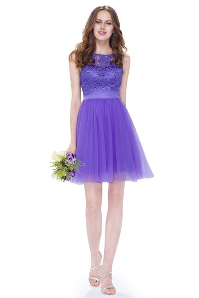 A-Line Chiffon Scoop Neck Knee-Length Homecoming Dress | TeresaClare