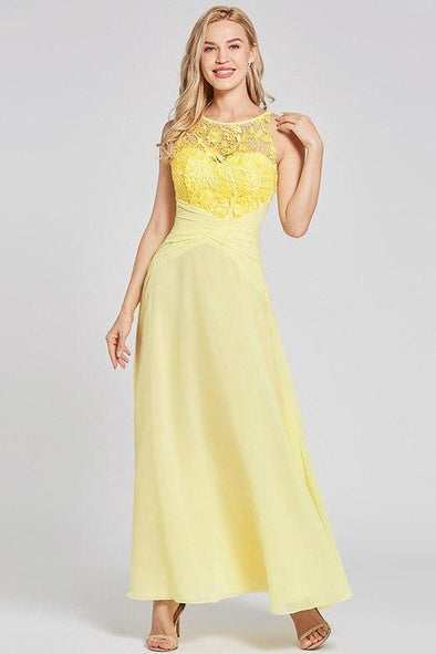 A-Line Daffodil Scoop Neck Ankle Length Lace Prom Dress | TeresaClare