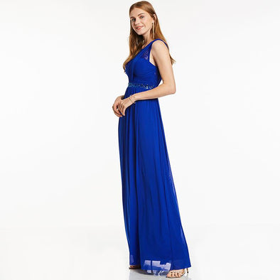 A-Line Dark Royal Blue Sleeveless Floor Length Evening Dress | TeresaClare
