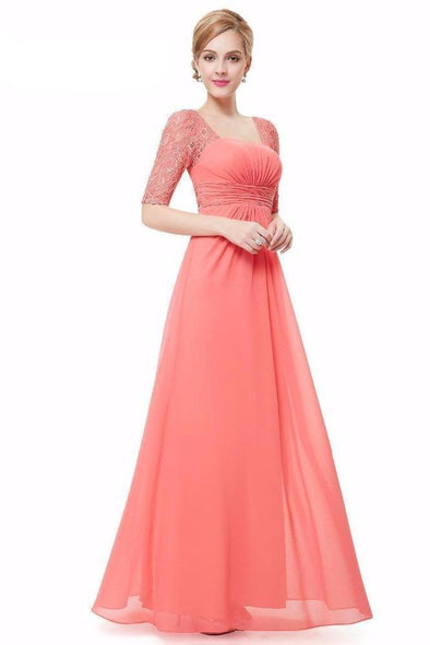 A-Line Floor-Length Chiffon Square Collar Neckline Prom Dress | TeresaClare