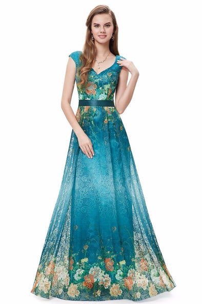 A-Line Floor-Length Floral Printed Holiday Dress | TeresaClare