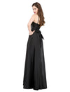 A-Line Floor-Length Strapless Satin Evening Dresses | TeresaClare