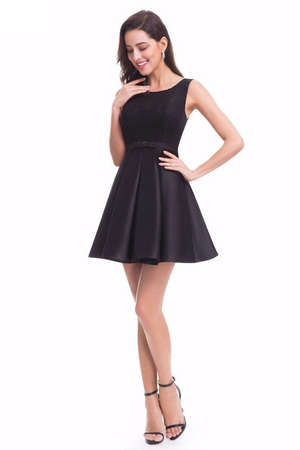 A-Line Lace Nylon Spandex Cocktail Dress With Bow And Ribbons | TeresaClare