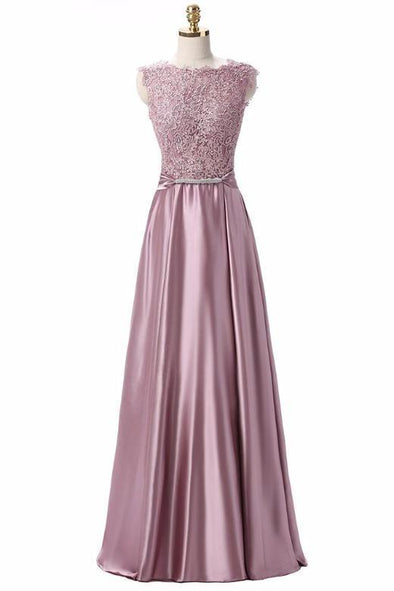 A-Line Lace Satin Scoop Neck Floor Length Evening Dress | TeresaClare