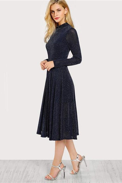 A Line Ladies Navy Long Sleeve Mock Neck Fashion Dress | TeresaClare