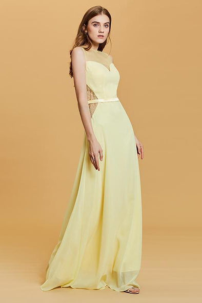 A-Line Long Daffodil Scoop Neck Floor Length Lace Prom Dress | TeresaClare
