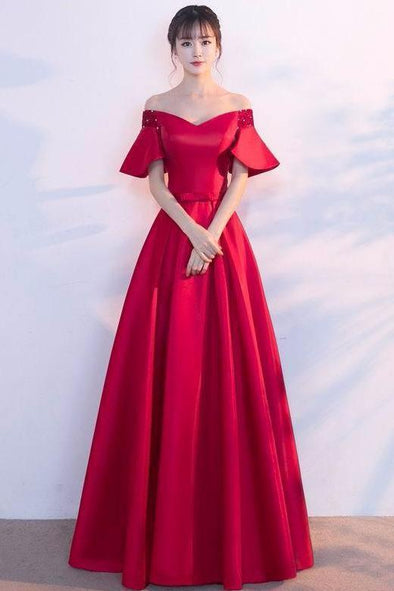 A-Line Off The Shoulder Evening Dress With 1/2 Sleeves | TeresaClare