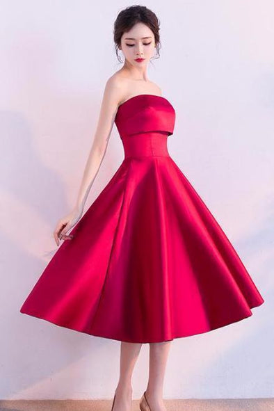 A-Line Satin Strapless Tea-Length Cocktail Dress With Pleats | TeresaClare