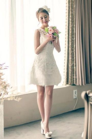 A-Line Scoop Neck Homecoming Dress With Lace Appliques | TeresaClare