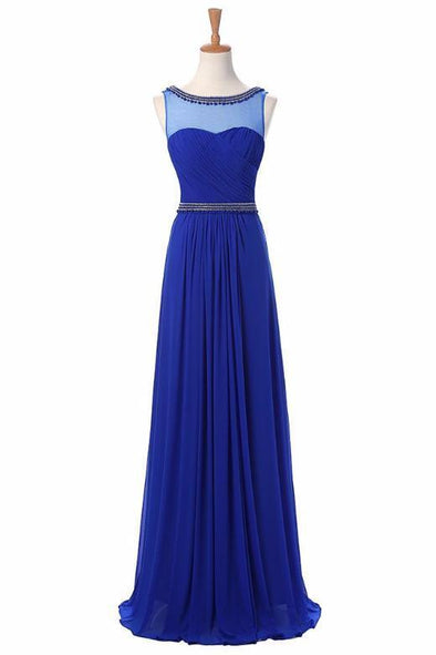 A-Line Scoop Neck Sleeveless Evening Dress With Beading | TeresaClare