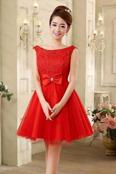 A-Line Scoop Neck Tulle Lace Homecoming Dress With Bow | TeresaClare