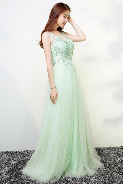 A-Line Sleeveless Prom Dress With Beading And Lace Appliques | TeresaClare