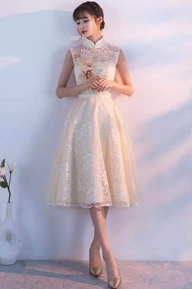 A-Line Tea-Length Homecoming Dress With High Neck  1a0945690