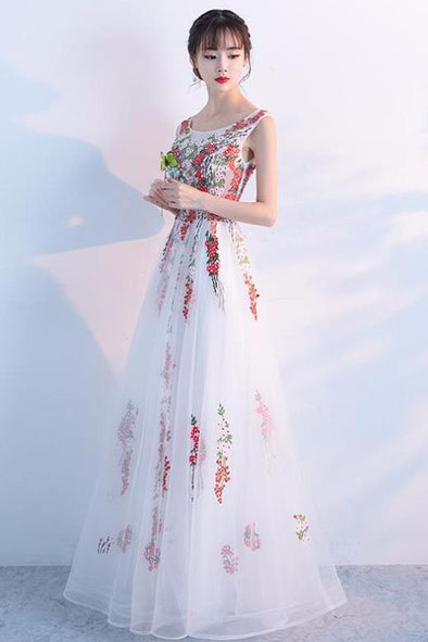 A-Line Tulle Floor-Length Prom Dress With Embroidery | TeresaClare
