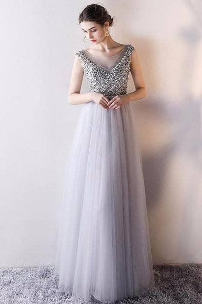 A-Line Tulle Prom Dress With Sequins Beading And Crystals | TeresaClare