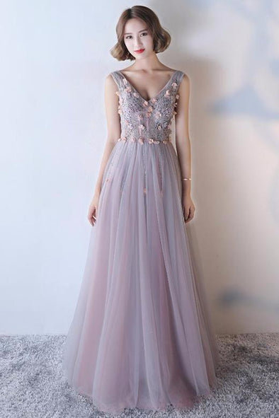 A-Line V-Neck Sleeveless Prom Dress With Crystals | TeresaClare