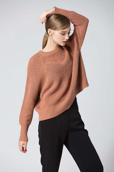 Acrylic O-Neck Full Sleeves Cotton Knit Sweater | TeresaClare