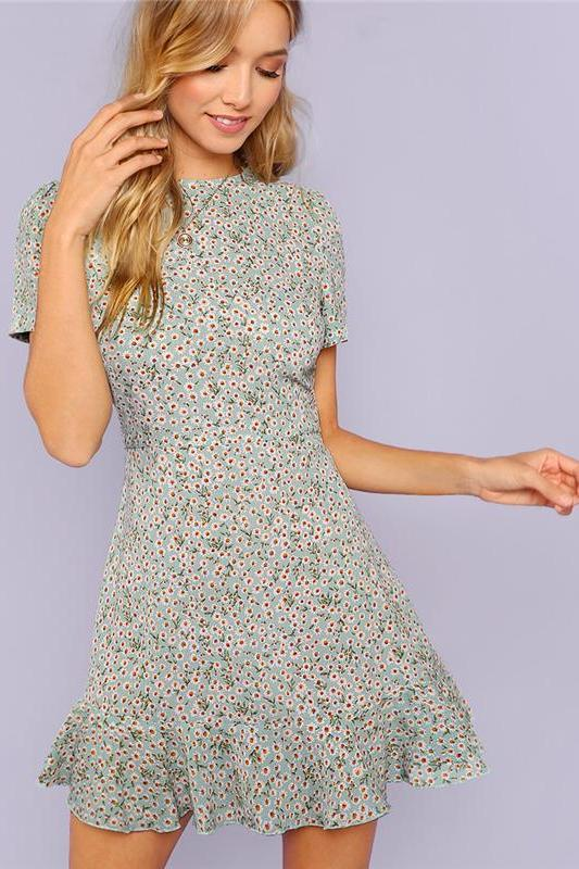 Allover Floral Print Ruffle Hem Textured Fashion Dress | TeresaClare