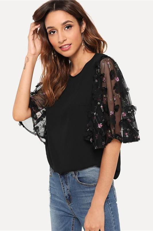 Applique Mesh Sleeve Round Neck Half Sleeve Blouse | TeresaClare