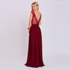 Appliques Burgundy Scoop Neck Sleeveless Evening Dress | TeresaClare