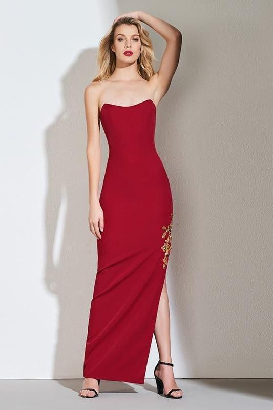 Appliques Dark Red Sleeveless Sheath Evening Dress | TeresaClare