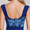 Appliques Dark Royal Blue Bateau Neck Sleeveless Evening Dress | TeresaClare