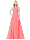 Appliques Floor-Length Sleeveless Chiffon Evening Dress | TeresaClare