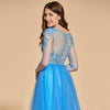Appliques Light Royal Blue Full Sleeves Floor Length Prom Dress | TeresaClare