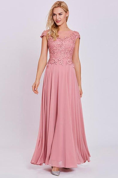 Appliques Peach Cap Sleeves Lace Floor Length Prom Dress | TeresaClare