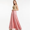 Appliques Pink Bateau Neck Sleeveless Floor Length Evening Dress | TeresaClare