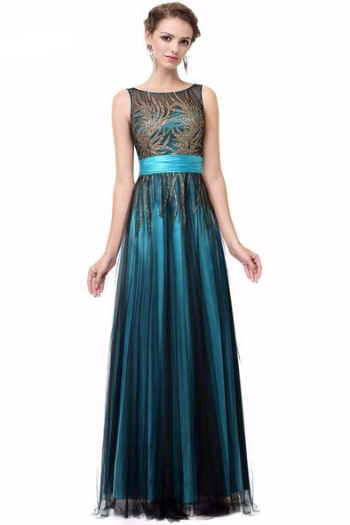 Aqua Floor-Length A-Line Lace Satin Prom Dress With Crystals | TeresaClare