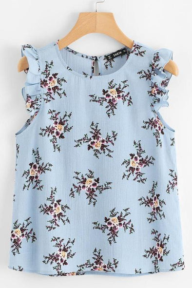 Armhole Button Closure Back Floral Blouse | TeresaClare