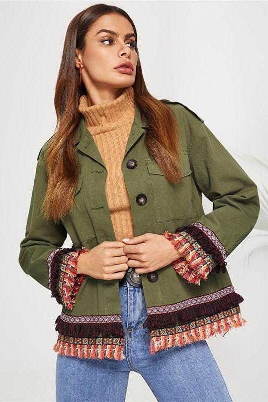Army Green Cotton Embroidered Tape and Tassel Jacket | TeresaClare