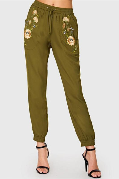 Army Green Highstreet Elastic Waist Floral Embroidered Pants | TeresaClare