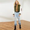 Army Green Highstreet Faux Fur Collar and Sleeve Jacket | TeresaClare
