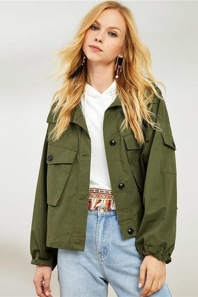 Army Green Highstreet Preppy Pocket Front Jacket | TeresaClare