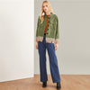Army Green Preppy Frayed Edge Single Breasted Jacket | TeresaClare