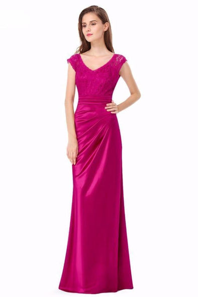 Asymmetrical Long Satin Lace Prom Evening Dress | TeresaClare