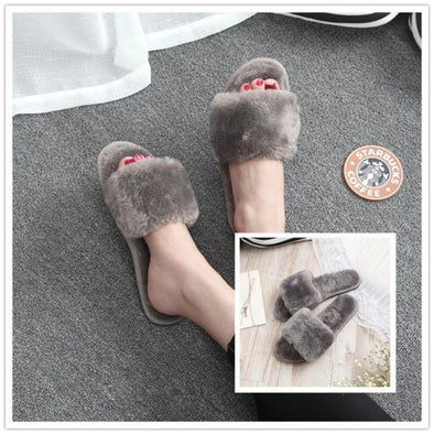 Autumn And Winter Home Word Drag Fluffy Slippers | TeresaClare