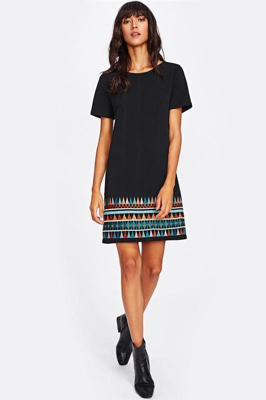 Aztec Embroidered Hem Dress Black Short Sleeve Fashion Dress | TeresaClare