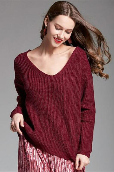 Back Cross Sexy Candy Colors Deep V-Neck Sweater | TeresaClare