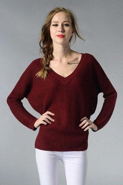 Backless Fashion Deep V-Neck Knitted Pullover Sweater | TeresaClare