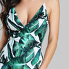 Backless Fitted Slip Green Tropical Print Sexy Fashion Dress | TeresaClare