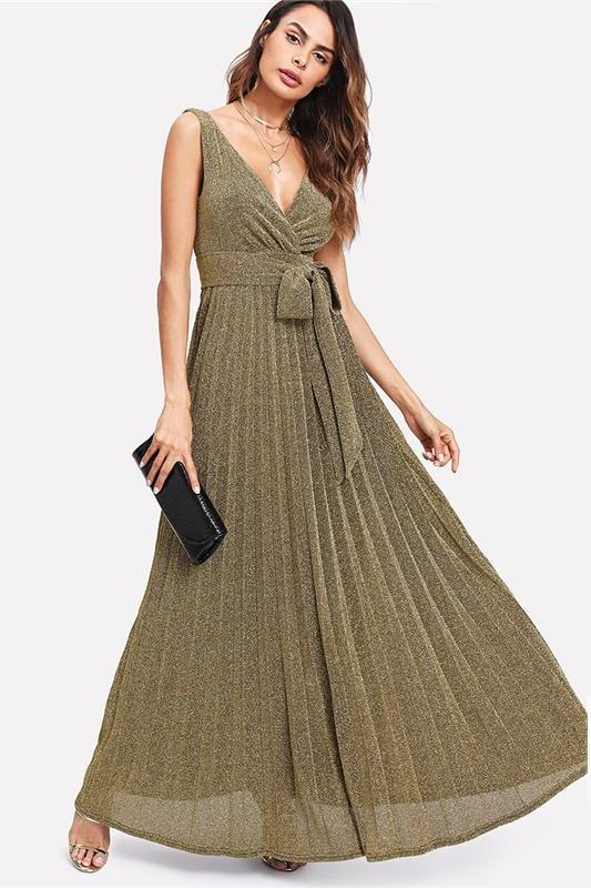 Backless Party Maxi Deep V Neck Sleeveless Fashion Dress | TeresaClare