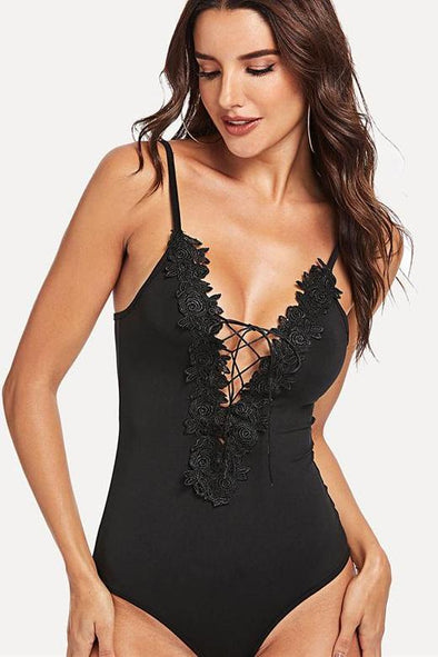 Backless Plain Floral Appliques Lace Up Sexy Bodysuit | TeresaClare
