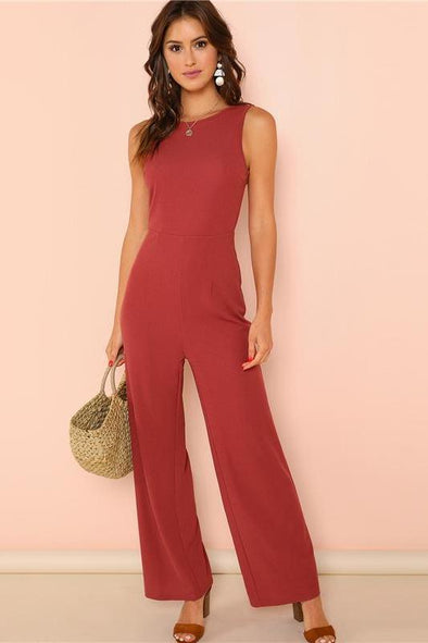 Backless Ruffle Trim Open Back Wide Leg Sexy Jumpsuit | TeresaClare